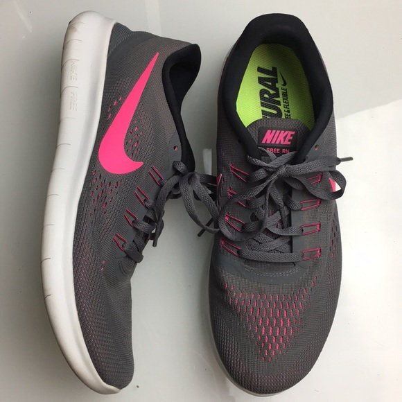 Nike Shoes - Nike Free RN Grey Pink Running Shoes Womens 11